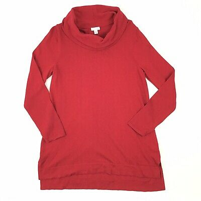J. Jill Cowl Neck Tunic Sweater Women's M Red Long Sleeve Solid Cotton (Solid Cowl Neck Sweater)