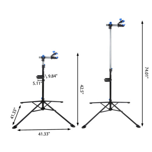 Pro Bike Repair Stand Adjustable w/ Max 74″ Telescopic Steel Arm Bicycle Rack Bicycle Maintenance & Tools