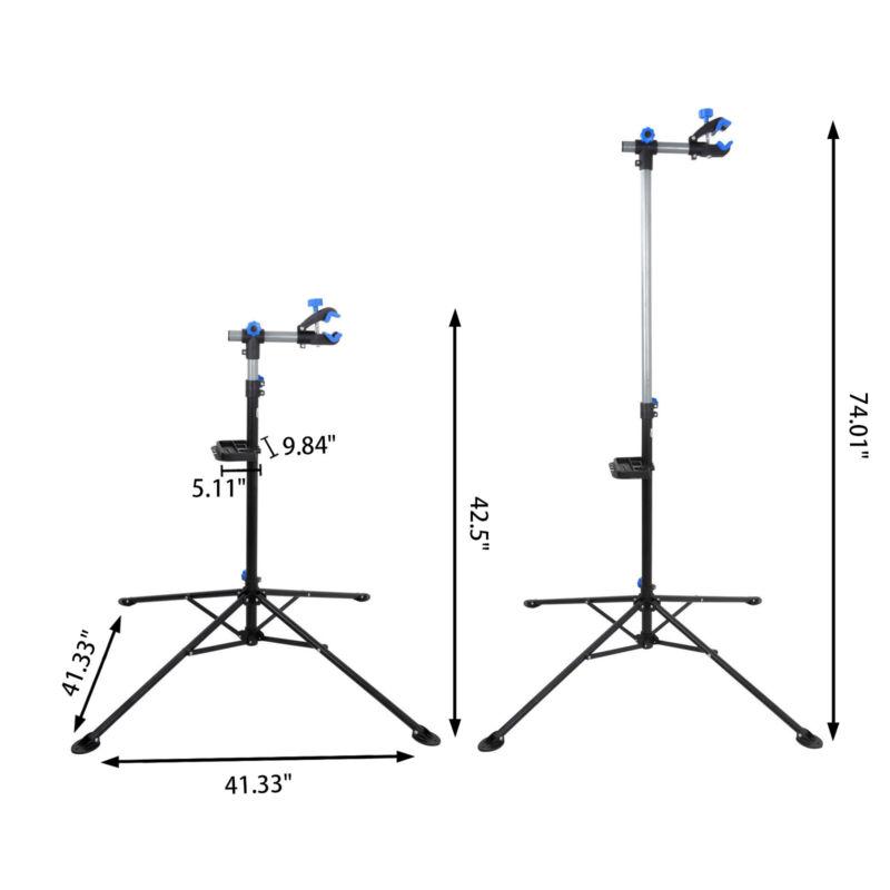 "Pro Bike Repair Stand Adjustable w/ Max 74"" Telescopic Steel Arm Bicycle Rack"