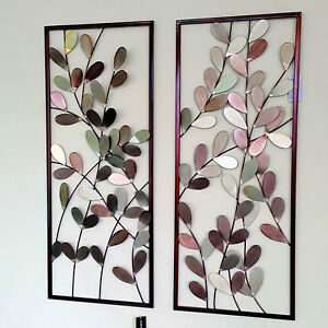 Large Metal Wall Art Framed Wall Sculpture/ Home Decor Colorful Leaves - Pair