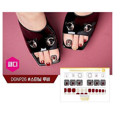 Gloss Gel Nail Strip Pedicure 30 Nails DGNP26 Stunning Ruby Nail Art K-Beauty