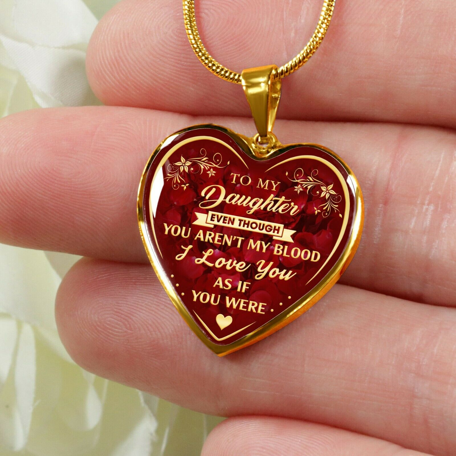 To My Daughter Necklace From Step Mom Dad - Step Daughter Ne