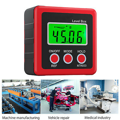 Digital Box Gauge Angle Protractor Level Inclinometer Magnetic Base 0-360 Red