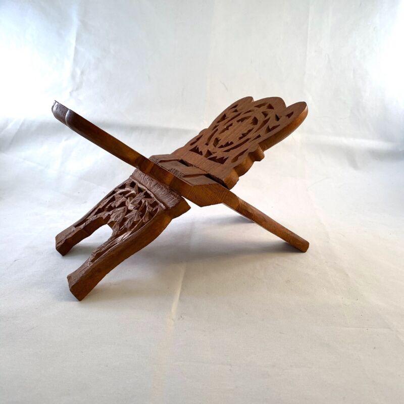 Vintage Wood Carved Book Bible Cookbook Wooden Holder Folding Stand Ornate India
