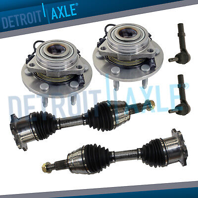 6 Pieces: Both (2) Brand New Front Wheel Bearing + 2 CV Axles + 2 Tie Rod Ends