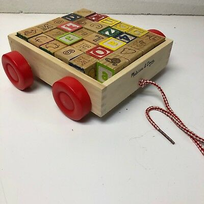Alphabet Wooden Blocks Building Abc Numbers Block Letters   PULL-WAGON-TOY