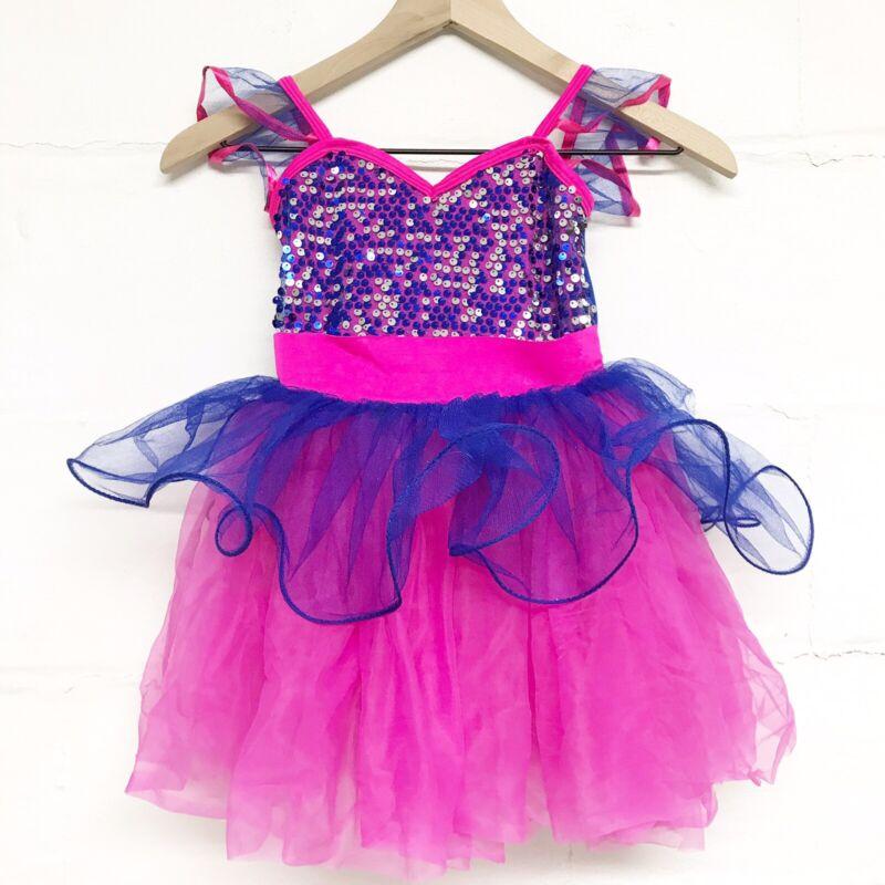 Curtain Call Pink And Blue Sequin Tutu Dance Costume Size CME - Child Medium