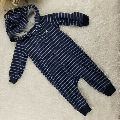 Carter's infant blue striped hooded body suit SIZE 12 MONTHS sleeper winter (O) - Carters Striped Body