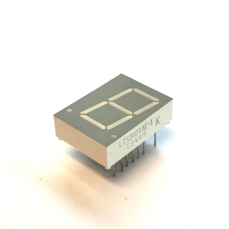 "(PKG of 2) 7-Segment Display, Red, 1 Digit, 0.8"", Com Anode, Lite-On LTS3401AE-1"