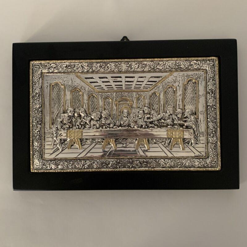 "Clarte Co. Sterling Silver Repousse Last Supper Plaque Icon 10"" x 6.75"" EUC"