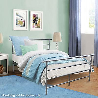 Metal Platform Bed Bedroom Frame Silver Steel Headboard Full Size Furniture New