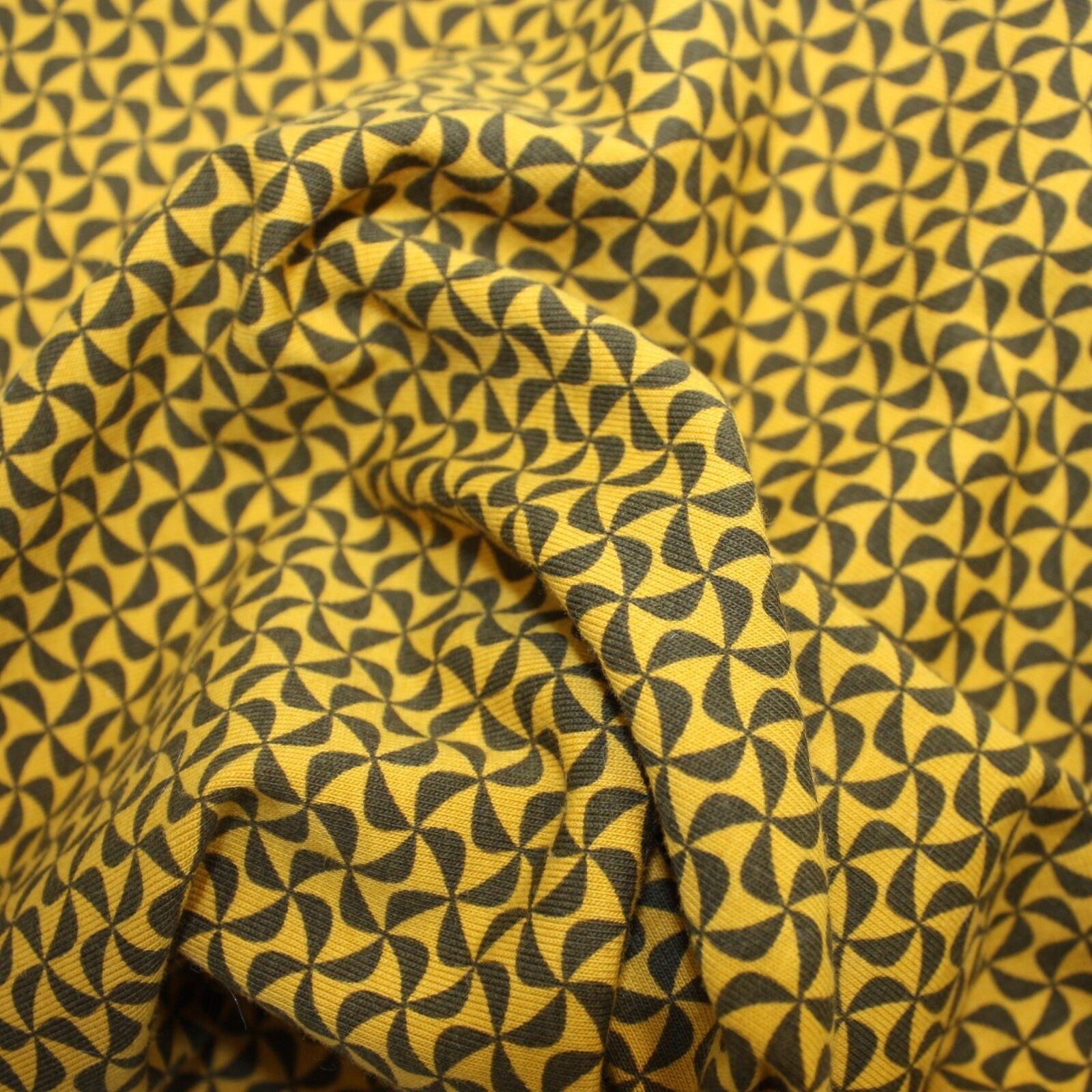 Grey Cotton Knit Stretch Fabric Dressmaking Pinwheels Jersey