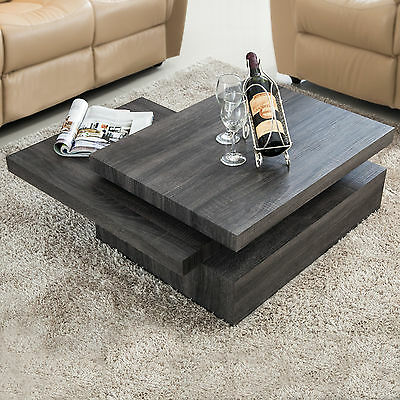 تربيزه جديد Oak Square Rotating Wood Coffee Table with 3 Layers Home Living Room Furniture