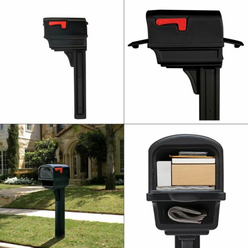 gentry all-in-one black plastic mailbox and post combo | gibraltar large double