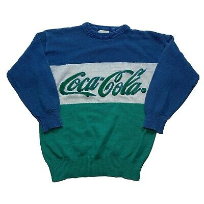Vintage Coca Cola Crewneck Sweatshirt Green Blue White Medium 80's 90's 1986
