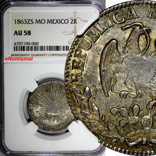 Mexico FIRST REPUBLIC 1863 ZS MO 2 Reales NGC AU58 1 GRADED HIGHEST KM# 374.12
