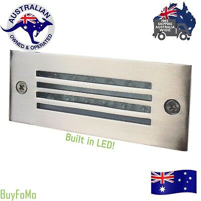 LED Recessed Brick Light Stainless Steel Wall Deck Stair, Step - White LED Stainless Steel Brick Light