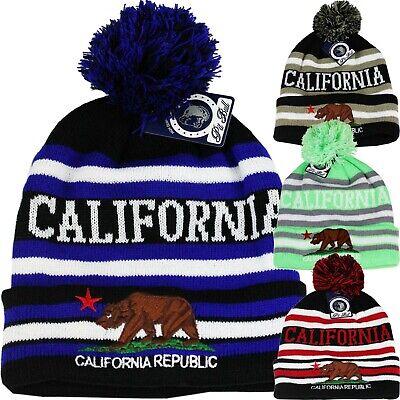 - California Republic Bear Cali Cuffed Beanie Pom Skull Cap Knit Winter Hat