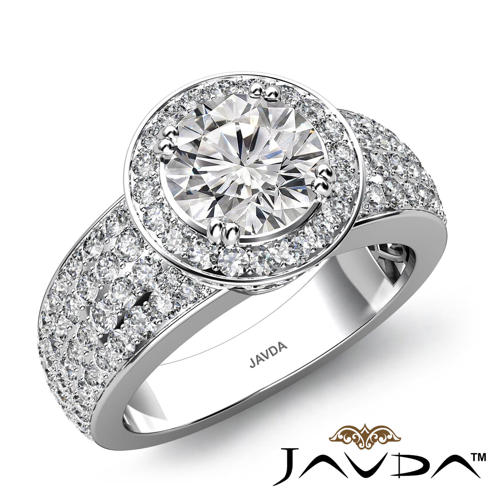 4 Row Pave Round Diamond Engagement GIA I SI1 Filigree Heart Shank Ring 3.03 Ct