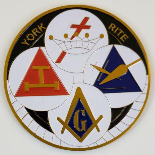 Auto Emblem York Rite Aluminum Masonic Freemason Mason