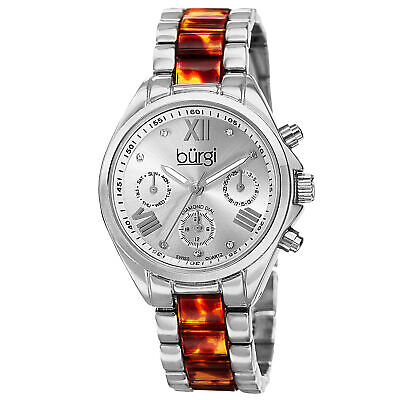 New Women's Burgi BUR130SS Swiss Diamond Multifunction Tortoise Bracelet Watch