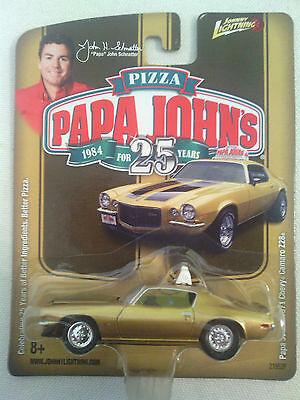 New Johnny Lightning Papa Johns Pizza 1971 Gold Chevy Camaro Z28 Papa Johns Car