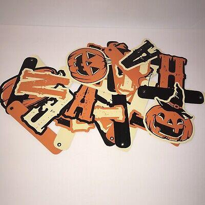 "Happy Halloween Banner Jointed Retro Vtg Garland Bunting 8 Ft x 5"" Pumpkins"