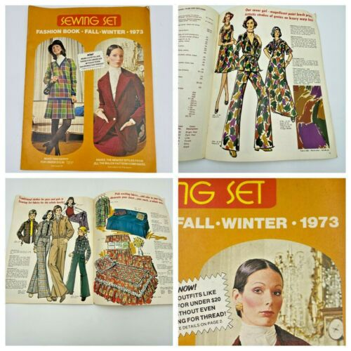 Vintage 1973 Sewing Set Fashion Book Fabric Patterns Catalog with Prices BK15