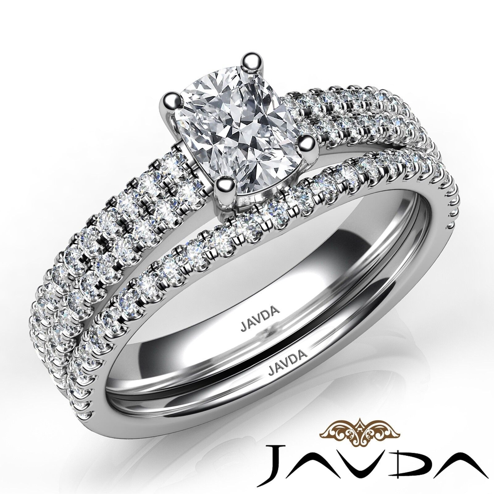 1.8ctw Bridal Scalloped Pave Cushion Diamond Engagement Ring GIA F-VVS2 W Gold 1