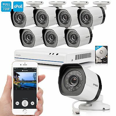 Zmodo 1080p 8CH NVR 1.0 MP Outdoor IP Network PoE Home Security Camera System 1T