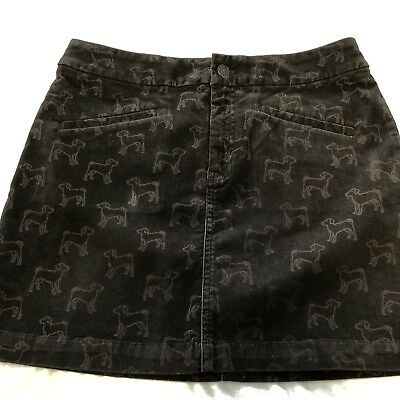 Vineyard Vines Skirt Womens 4 Brown Dog Print Corduroy Stretch 15 Inch Length