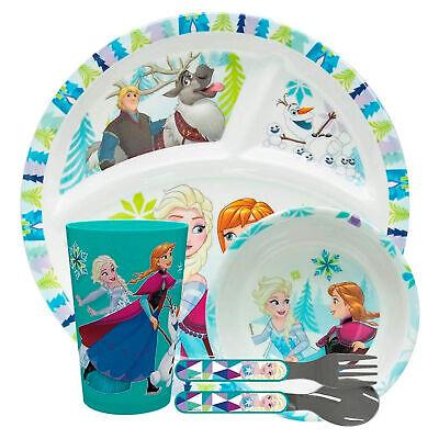 Zak Frozen Kids' Dinnerware Set, 5-Piece Divided Plate, Bowl, Tumbler, Flatware