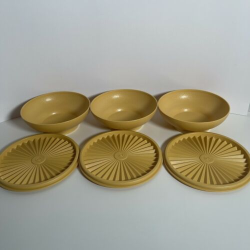 Vintage Tupperware Cereal Bowls With Lids Set of 3 Yellow 890-27 and 808-15