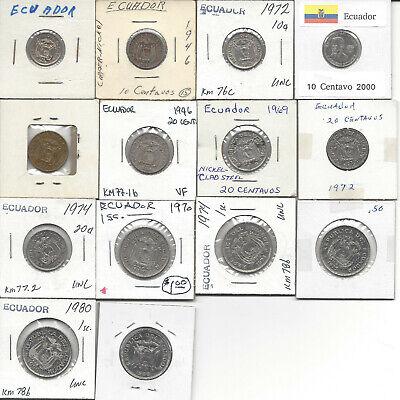 Ecuador Sucre Centavos 1944 to 2000 14 coin lot
