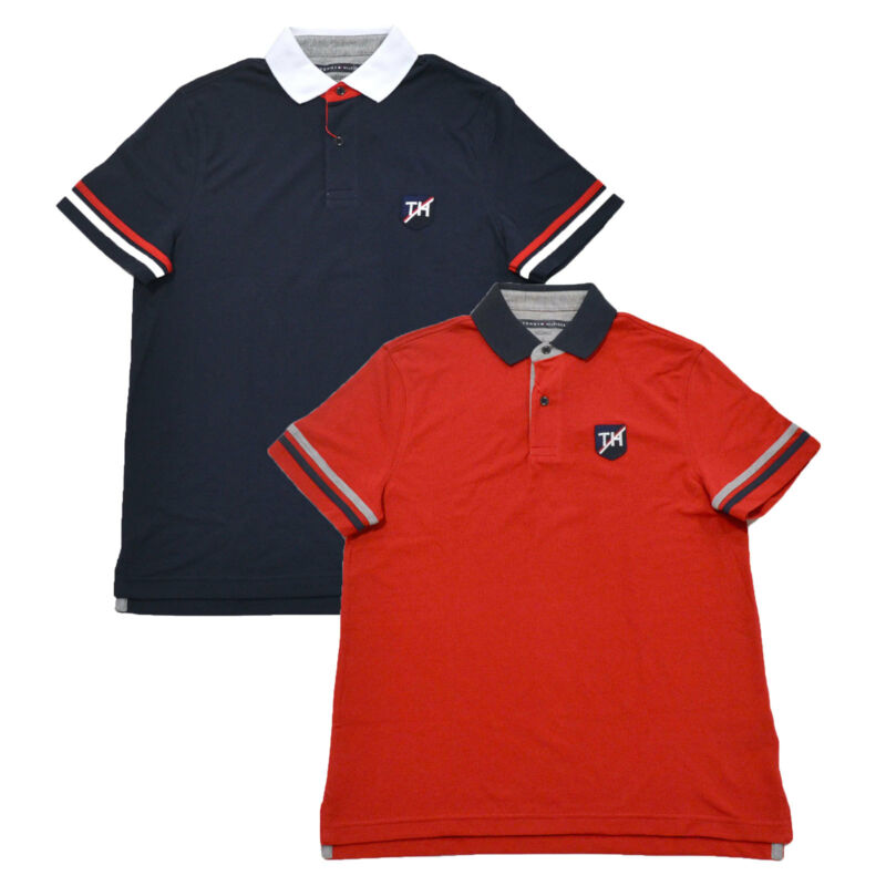 128fd1fa Tommy Hilfiger Polo Shirt Mens Performance Pique Custom Fit Wicking Th  Patch фото