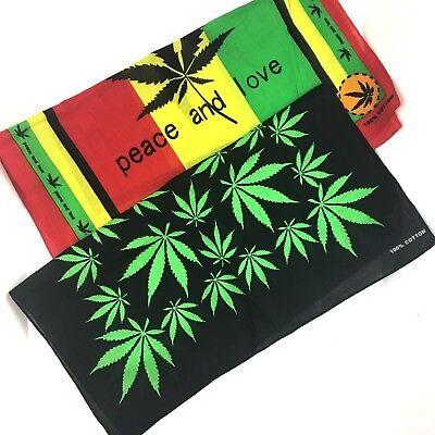 Pot Leaf Bandana Rasta Colors Peace Love Black Green Marijuana Theme YOU CHOOSE - Bandana Theme