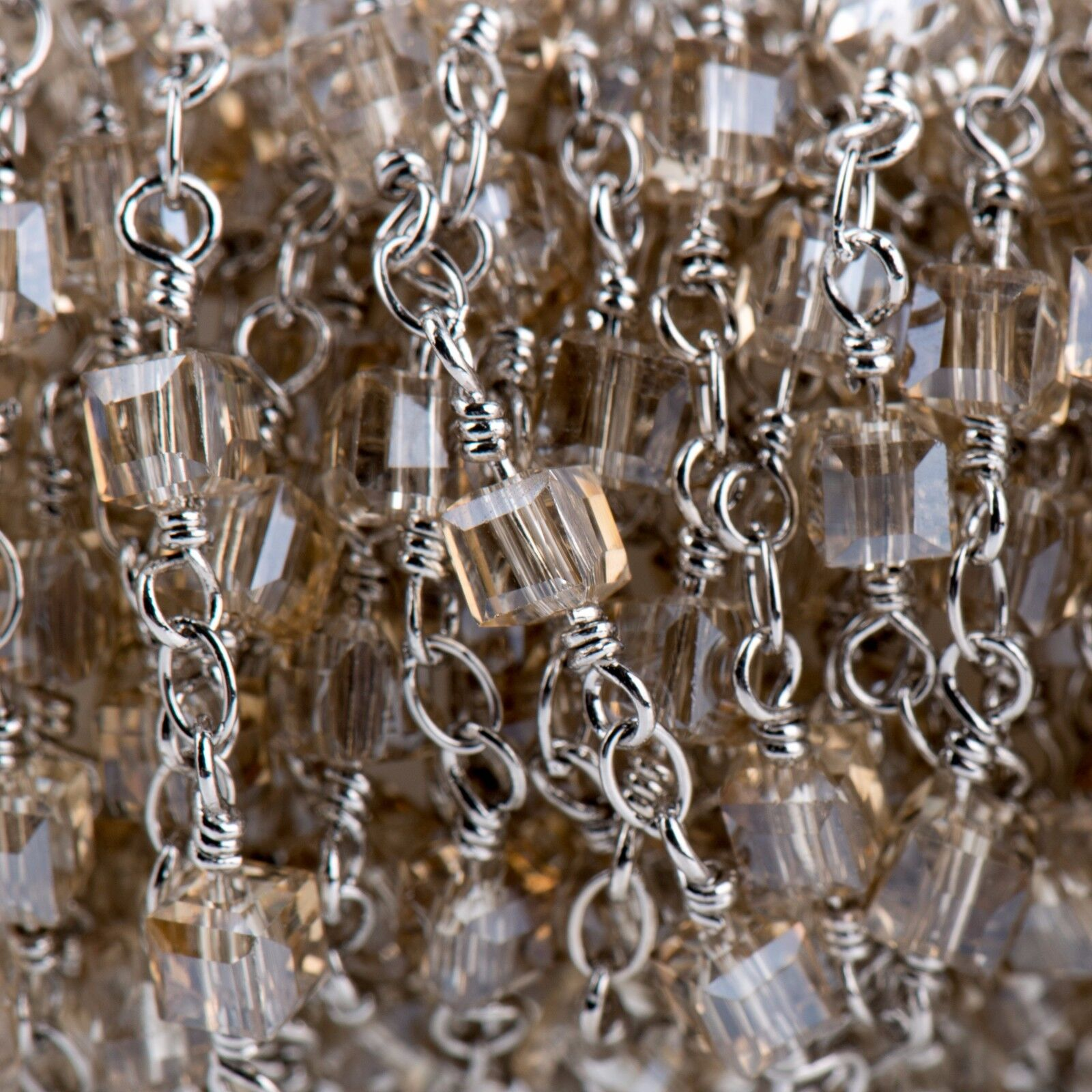 5yd Golden Shadow Cube Crystal Rosary Chain, Silver Doubl...