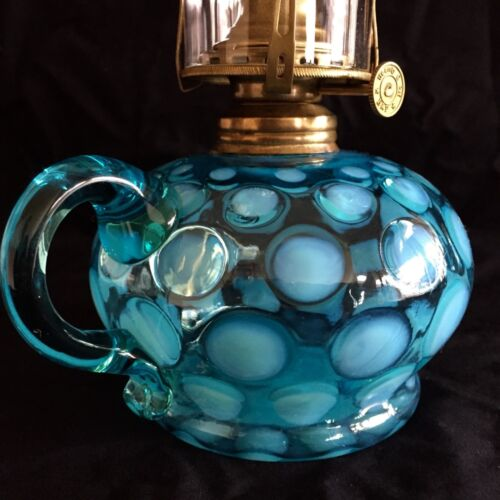"""ANTIQUE """"COIN DOT"""" OPALESCENT BLUE / TEAL BLUE GLASS OIL LAMP - c.1870s- 1890s"""