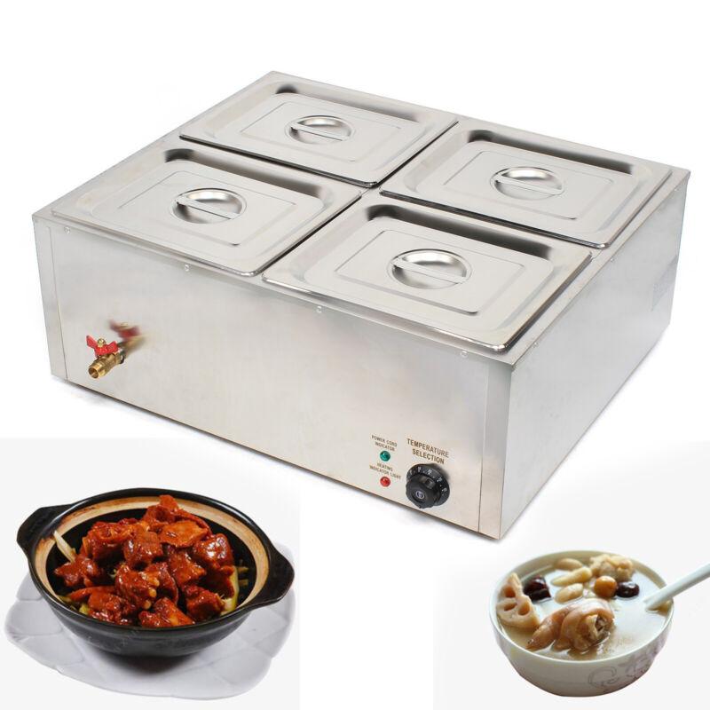 4 Pans Bain Marie Countertop Food Warmer Steam Table Restaurant Equipment 110V