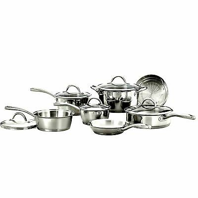 COOKWARE SET Gourmet Stainless Steel Tri-Ply Base Set 12 Piece Pots Pans Best