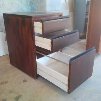 Filing cabinet 3drawer pine, timber veneer, on wheels Armidale City Preview