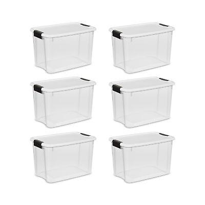 6 Pack 30 Qt. Large Storage Container Box Plastic Latching C