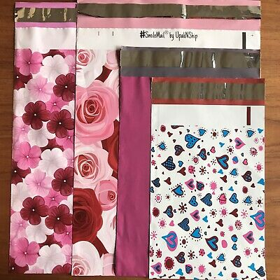 40 Poly Mailers Pink Variety Mix 3 Sizes 4 Designs 10x13 7.5x10.5 6x9