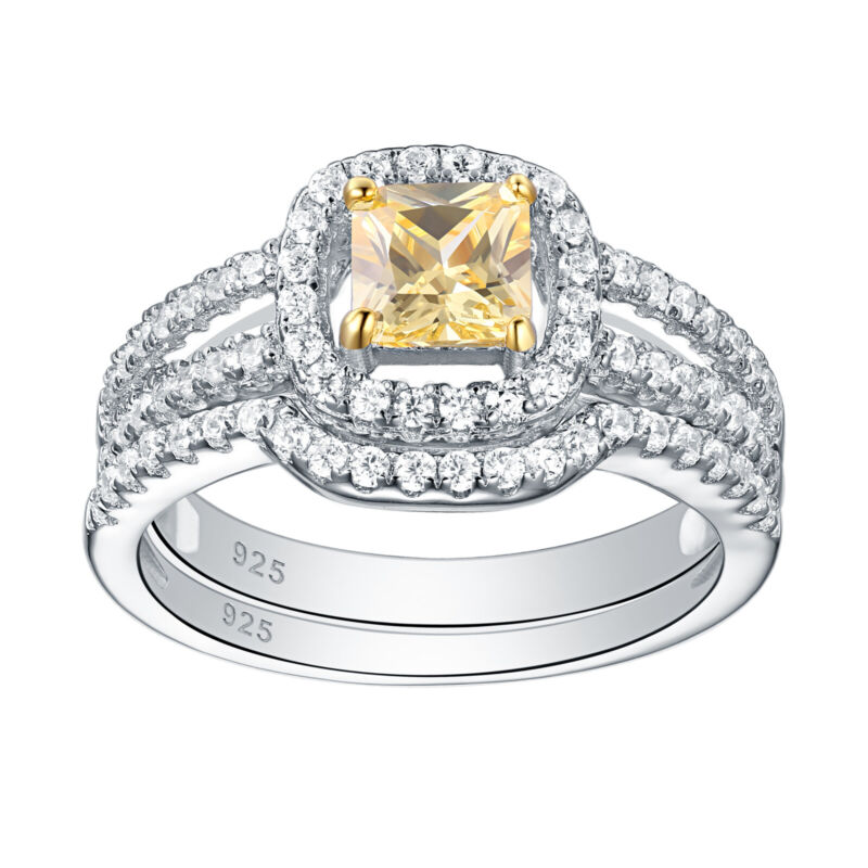 Wedding Engagement Ring Set 1.4ct Yellow Emerald White Cz 925 Sterling Silver