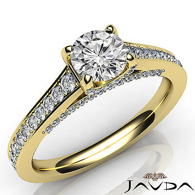 Bridge Accent Round Diamond Engagement Pave Set Ring GIA Certified F VS1 1.47Ct