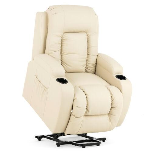 Electric Massage Power Lift Recliner Sofa Chair Armchair Leather Elderly Beige