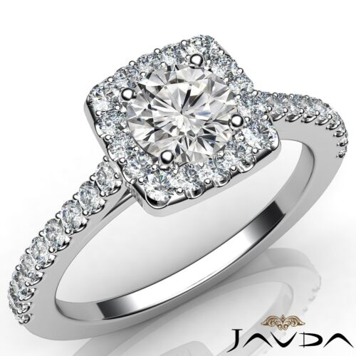 1.21ct Round Diamond Halo Shared Prong Set Engagement Ring GIA F VS2 Platinum