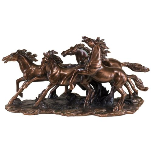 "4 Running Horses Bronze Copper Plated Figurine Statue Sculpture 17.5"" Long New"