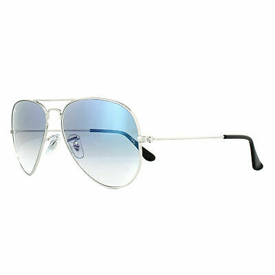 New RAY BAN Aviator Sunglasses Silver Frame RB3025 003/3F Gradient Blue 55mm