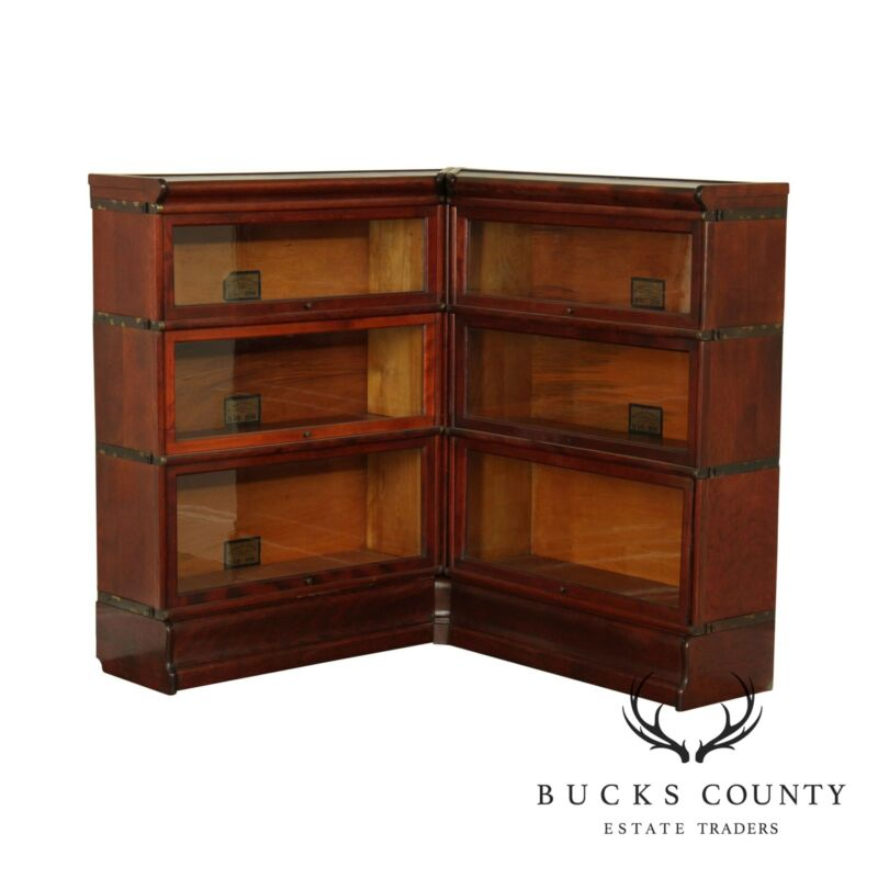 Globe Wernicke Antique Mahogany Corner Barrister Sectional Bookcase